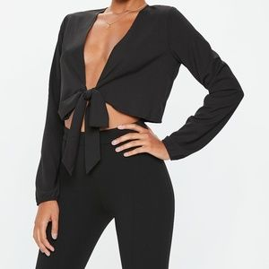 NWT Missguided tie front crop top 8